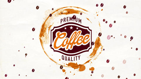 retro trademark way for famous coffee beverage with gourmet cappuccino scent with wet mug grunge on Animation
