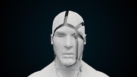 Futuristic human head with collapsing face. Computer generated modern background Animation