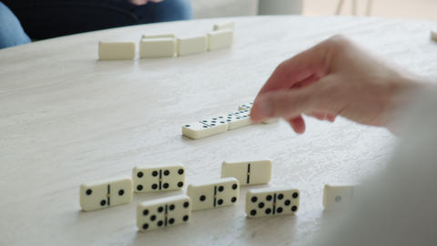6 Hands Of People Playing Dominoes Game For Leisure Recreation Live Action