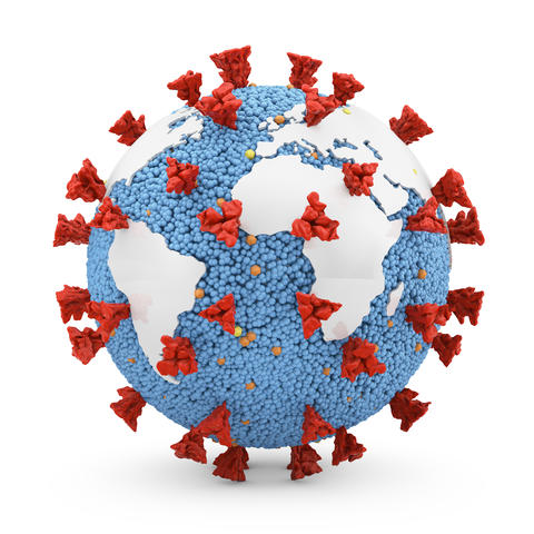 Coronavirus covid-19 with the continents Photo
