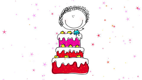 curly haired girl waving to the camera with big smile and wearing blue dress sitting on big cake Animation