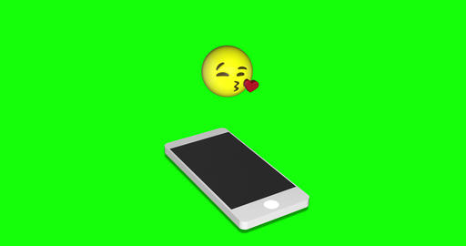 MAY 2020 USA :emoji blow kiss blow smartphone blow emoji green screen kiss green screen smartphone Animation