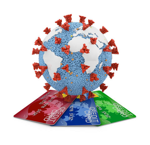 Coronavirus with continents and credit cards Photo