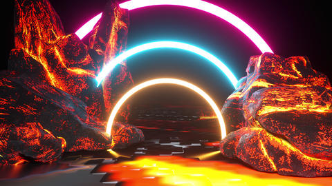 Rocky way and colored neon arches, 3d rendering. Computer generated virtual Animation