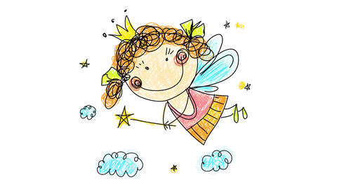 drawing of little happy fairy wearing golden crown pink and orange dress with curly red hair and Animation