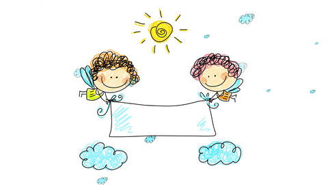 two happy female angels with the faces of little girls hand drawn and painted with color pencils Animation