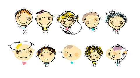 ten kids of all backgrounds and styles standing together in two lines placed indistinctly of genre Animation