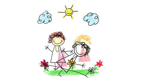 innocent kids drawing of two mothers painted with colorful crayons with happy faces and holding Animation