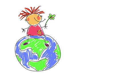 flower power hippie girl sitting on top of the world smiling and with a positive attitude suggesting Animation