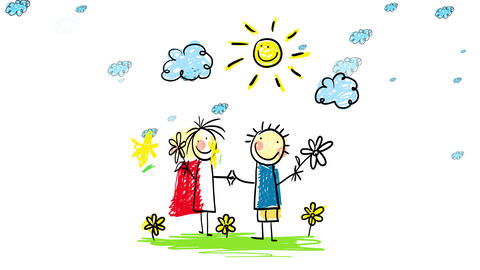 woman wearing red dress holding the hand of man wearing blue shirt both smiling with the sun over Animation