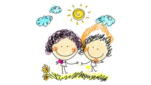 happy sisters hand drawn with curly hair wearing pink and yellow dresses holding hands on a meadow Animation