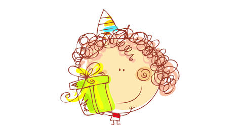 hand drawing of little boy smiling with festive triangular cap on his curly hair and showing off a Animation