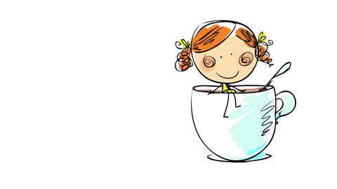 cute girl with pink cheeks and dimples and red curly hair smiling and sitting at the edge of a mug Animation