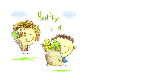 mother and son holding recycled paper bags with organic healthy food like vegetables and fruit Animation