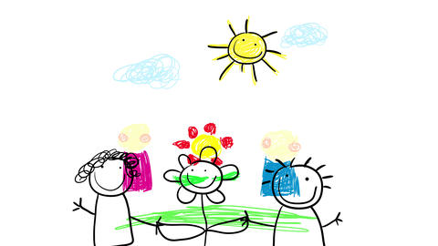 5 year old drawing of joyful mother and father showing off a huge red flower standing under the sun Animation