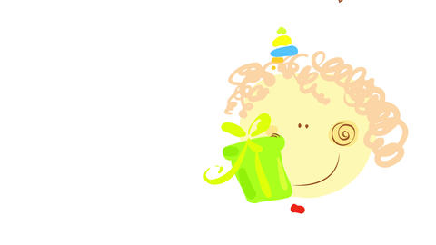 happy little boy on his birthday celebration party holding a gift box with green wrapping paper and Animation