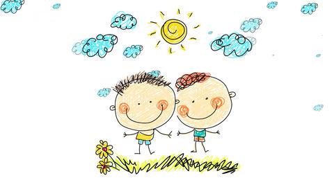 two joyful kids hanging out together on a natural landscape with clouds moving on the background Animation