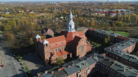 Historic church in the old town. Spectacular drone shot Live Action