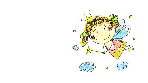 hand drawing of joyful innocent girl dressed as a fairy doing magic with her wand made with golden Animation