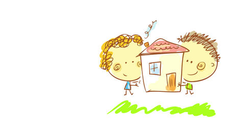 boy and girl playing with a toy house the same size as them carrying it through green grass painted Animation