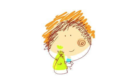 young man with happy face and blue shirt holding a green biodegradable plastic bag for organic waste Animation