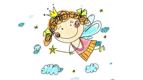 kindergarten drawing of young fairy with big smile long lashes and blue wings wearing cute dress and Animation
