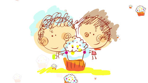brother and sister fighting for the biggest and most appetizing cupcake with cream and dragees at Animation