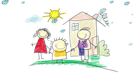 cheerful family of three playing on their front yard outside their house on a beautiful day with the Animation