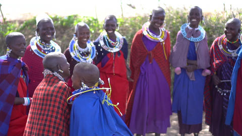 Ethnic Maasai African Tribe Women Traditional Jumping Dance, Slowmotion 120fps Live Action