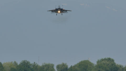 Military Combat Jet Aircraft McDonnell Douglas F-15 Eagle on the Landing Path Live Action