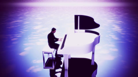 Man Playing Piano under the Sky - Time Laps Loop Background Animation