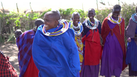 Slowmotion of Happy Maasai African Tribe Females In Traditional Jumping Dance Live Action