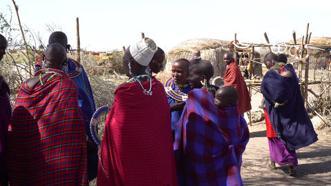 Females From Primitive Maasai Tribe in Colorful Traditional Dresses Live Action