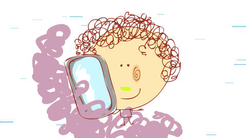 happy little girl with curly hair using a smartphone with wireless signals moving from right to left Animation
