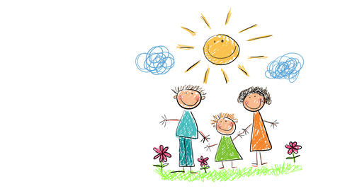 isolated doodle of family under the sun with happy smiles on an open field suggesting they are Animation