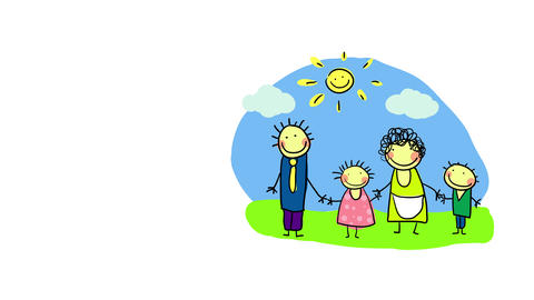 cute vibrant scene of family isolated at the right side of screen on a small landscape with four Animation