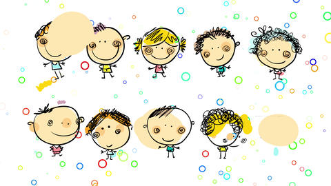 group of smiley female and male kids standing with joyful expression over background with Animation