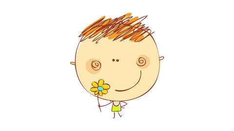 happy young boy smiling and facing the camera while holding a flower defying the genre gap between Animation