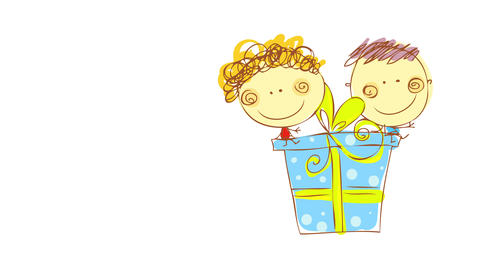 birthday greeting card with two happy kids smiling and sitting on top of a blue gift box of huge Animation
