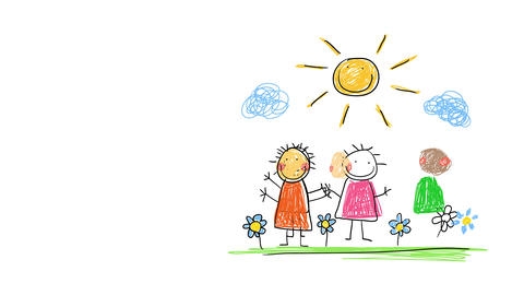 three happy young kids standing together on a beautiful landscape coming from different backgrounds Animation