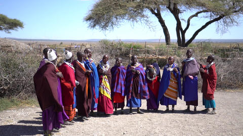 Women From African Masai Tribe, Some With Babies in Traditional Clothes Live Action