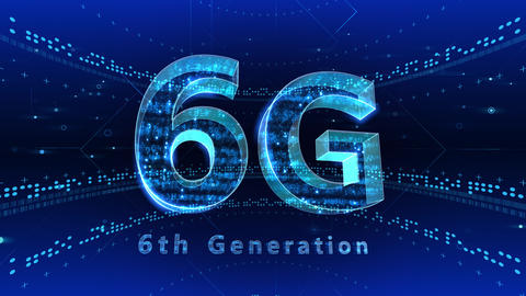 6G Digital Network technology 6th generation mobile communication concept background 2 F1 blue 4k Animation
