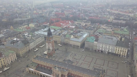 AERIAL: Birds Overhead View of Krakow, Poland Old Town,…, Live Action