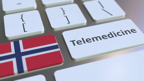 Telemedicine text and flag of Norway on the computer keyboard. Remote medical Photo