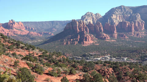 Sedona Arizona city valley red rock mountains 4K Footage