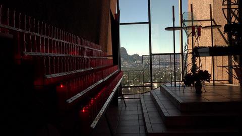 Sedona Arizona inside Chapel Holy Cross Catholic prayer candles view 4K 082 Live Action