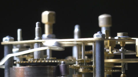 Macro vintage clock mechanism running Footage
