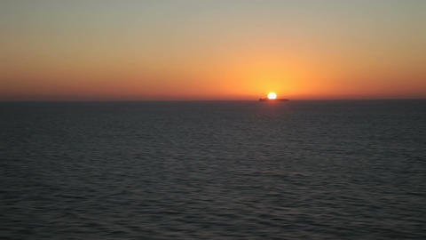 Ship horizon ocean sunset Fast P HD 4331 Footage