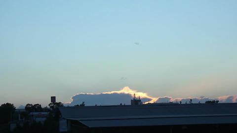 Timelapse of sunset in industrial zone, night in rural area, establishing shot Footage