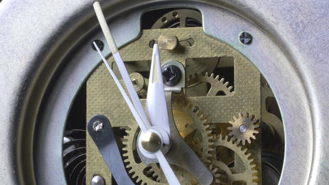 Closeup of a vintage mechanical clock running Footage